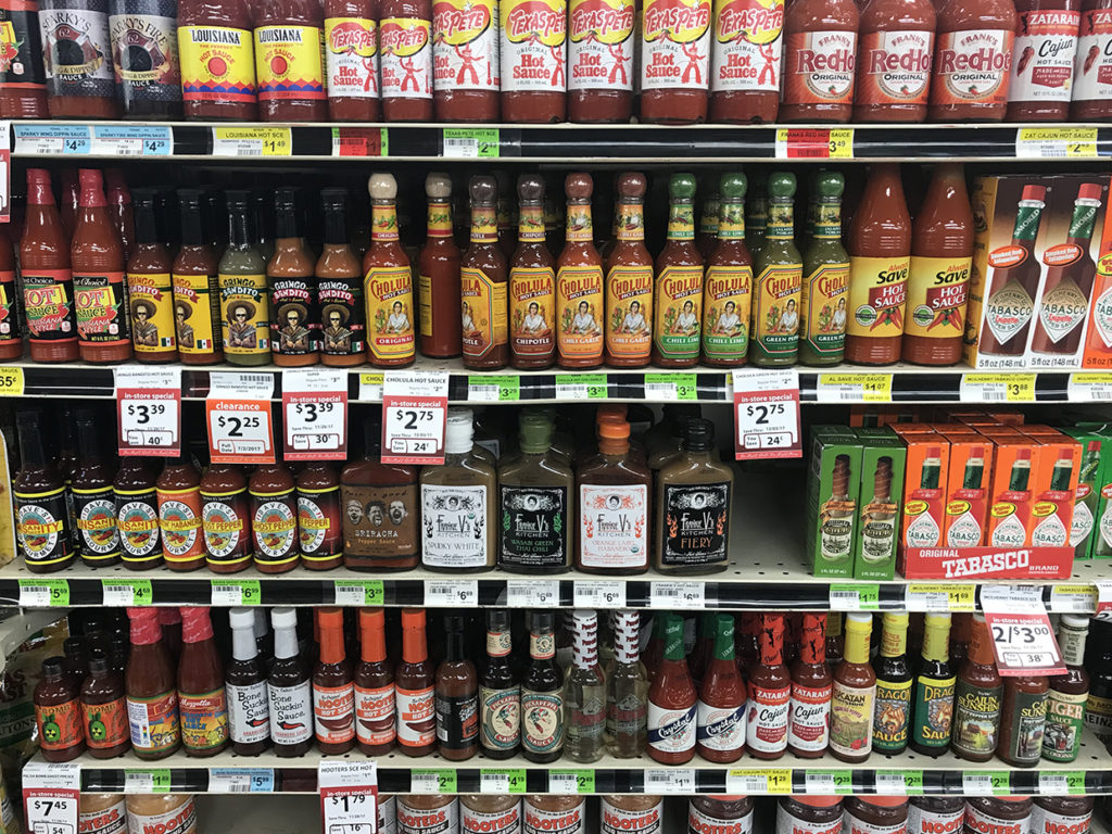 All sorts of hot sauces at Reasor's in Tulsa